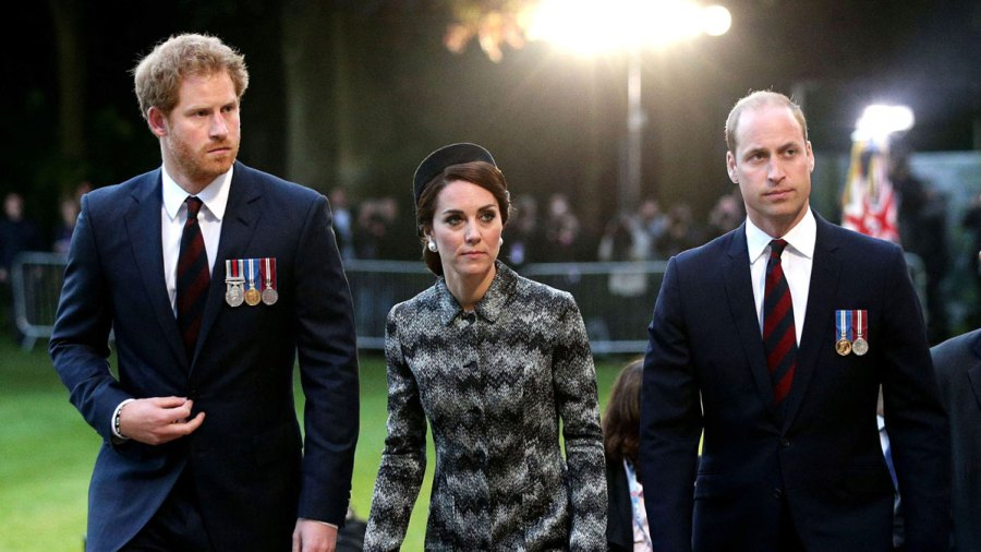 Duchess Kate, Prince William and Prince Harry attend an overnight vigil in France