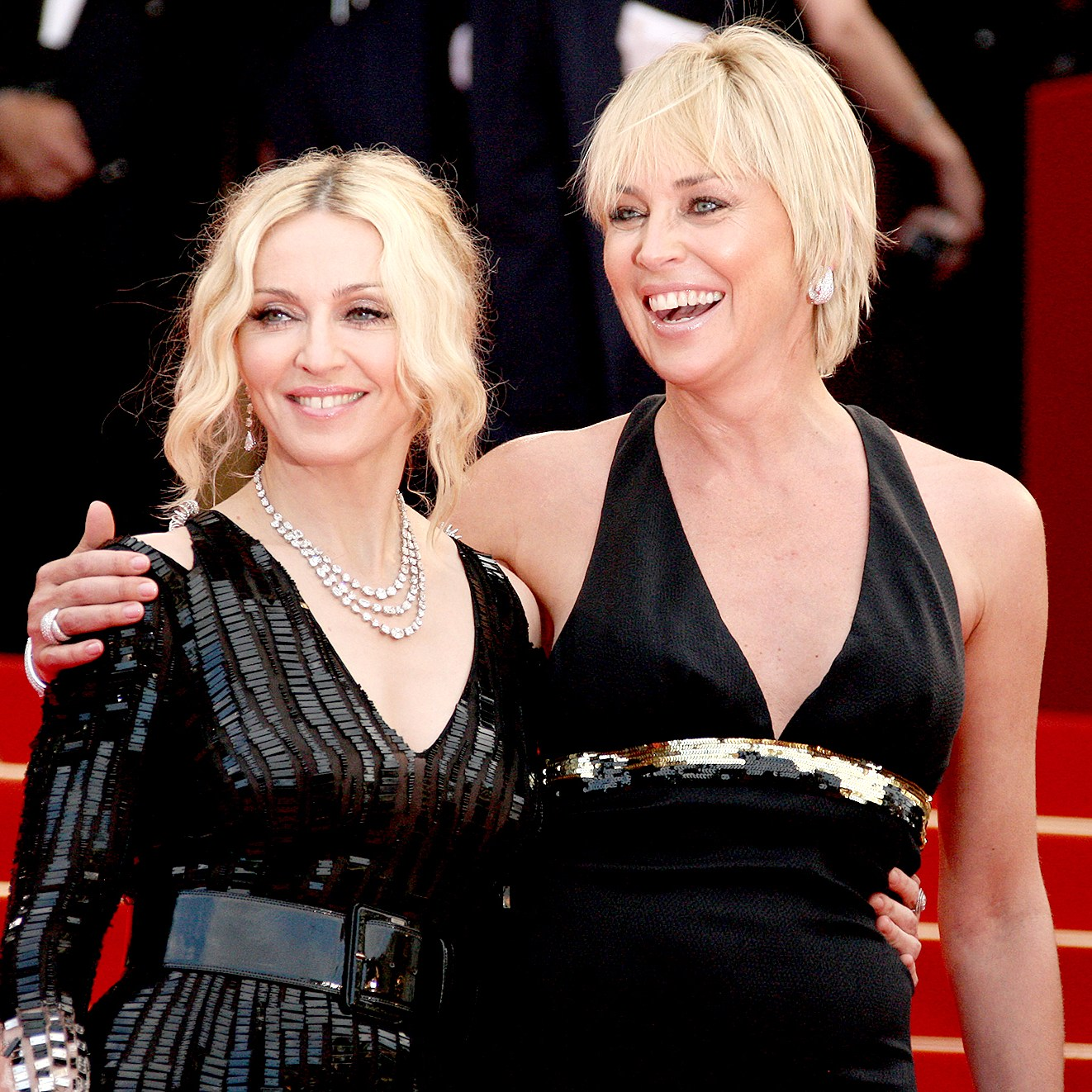 "Madonna and Sharon Stone attend the ""I Am Because We Are"" premiere at the Palais des Festivals during the 61st International Cannes Film Festival on May 21, 2008 in Cannes, France."