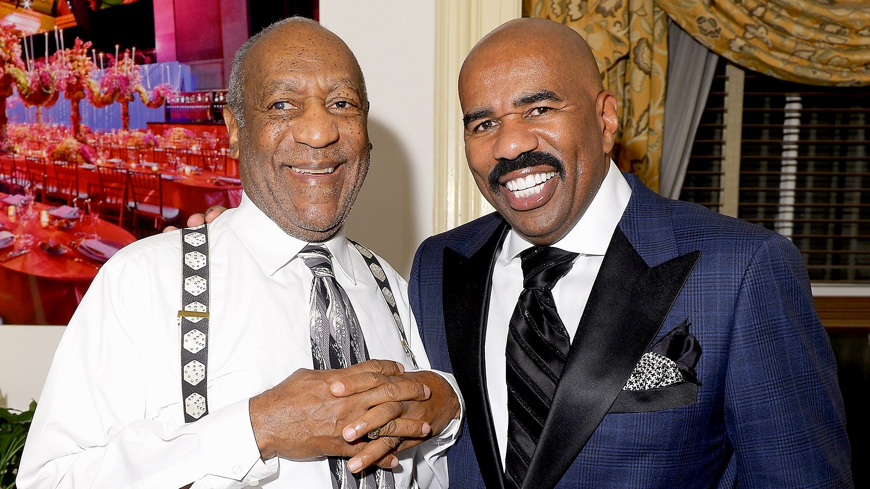 Bill Cosby and Steve Harvey attend Screen Gems Presents The Steve & Marjorie Harvey Foundation Gala at Cipriani Wall Street on May 14, 2012 in New York City.