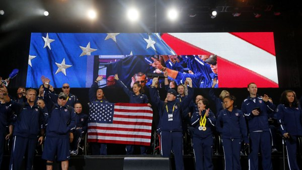 Team USA celebrate at the end of the 2014 Invictus Games