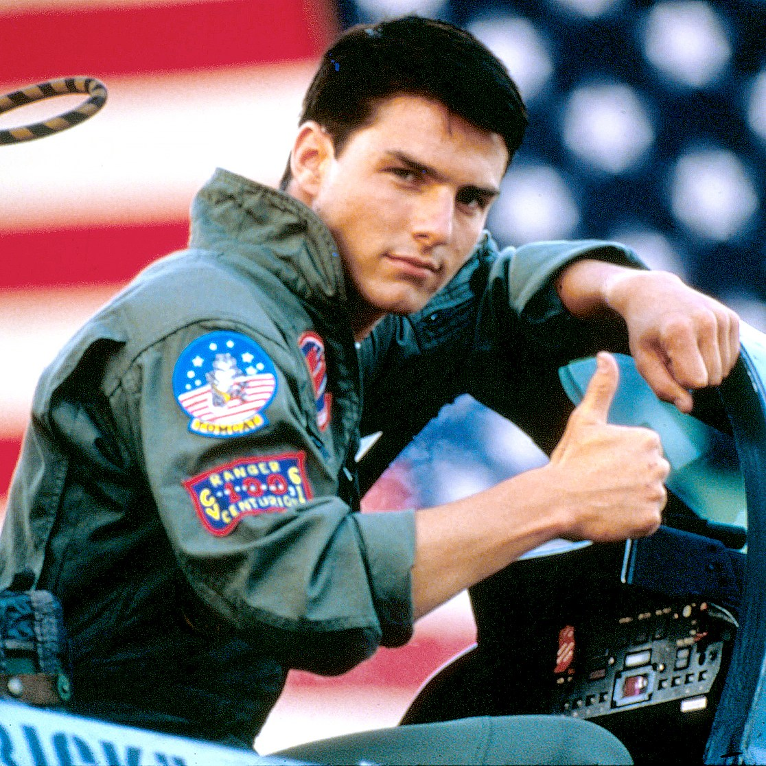 Tom Cruise on the set of Top Gun in 1986.