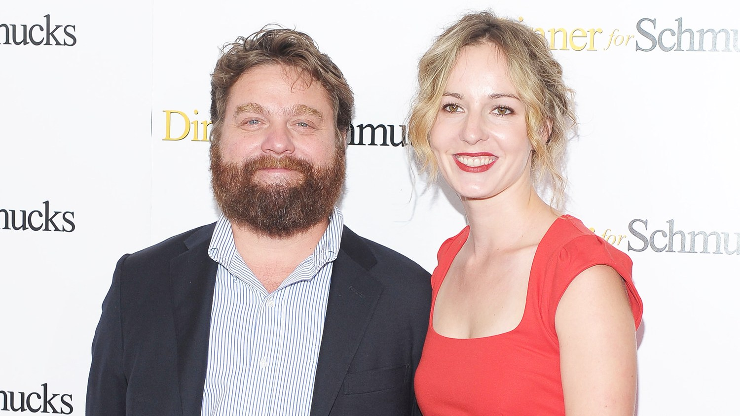 "Actor Zach Galifianakis and Quinn Lundberg attend the ""Dinner For Schmucks"" premiere at the Ziegfeld Theatre on July 19, 2010 in New York City."
