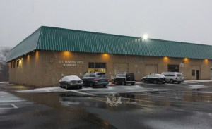 U.S. Martial Arts Academy, Ltd. building in snow, Timonium, Maryland 21093