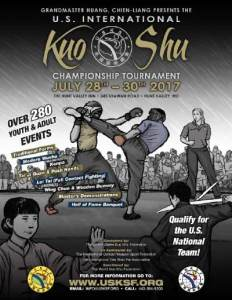 The 2017 U.S. International Kuo Shu Championship Tournament will be held in Hunt Valley, Maryland, July 28 - 30, 2017. This is an international tournament.