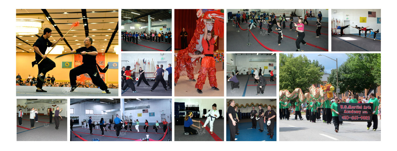 US Martial Arts Academy, Ltd images showing Kung Fu programs for children, families & adults in Tien Shan Pai and Tai Chi.