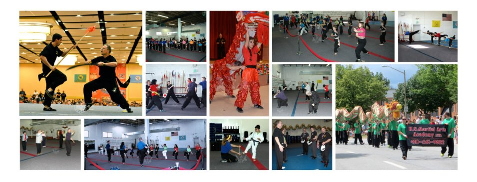 US Martial Arts Academy, Ltd images showing self defense programs in Kung Fu for children, families & adults in Tien Shan Pai and Adult Tai Chi.
