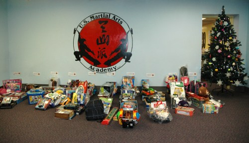 Holiday gifts collected  at U.S. Martial Arts Academy, Ltd., Timonium, Maryland for the Black  Sash Test