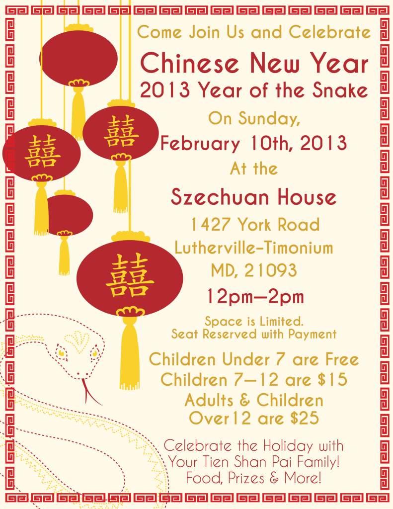 Chinese New Year 2103 flyer created by Katie Rasinski
