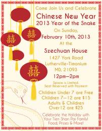 Chinese New Year 2103 flyer created by Katie Rasinski