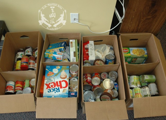 Food collected at the June 6, 2013 Black Sash test at US Martial Arts Academy, Ltd., Timonium, Maryland