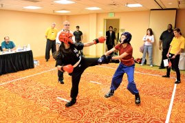 light contact sparring at the 2013 U.S. International Kuo Shu Championship Tournament in Hunt Valley, Maryland