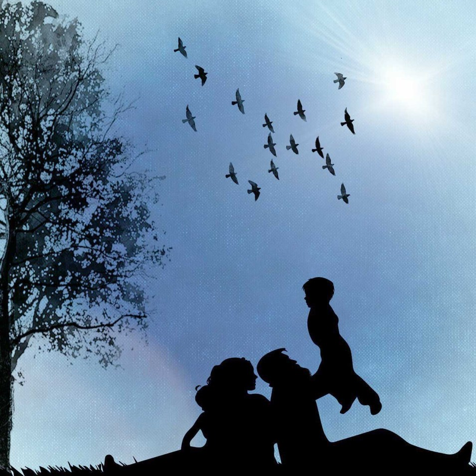 Silhouette of a Family outdoors - public domain from Pixabay.com