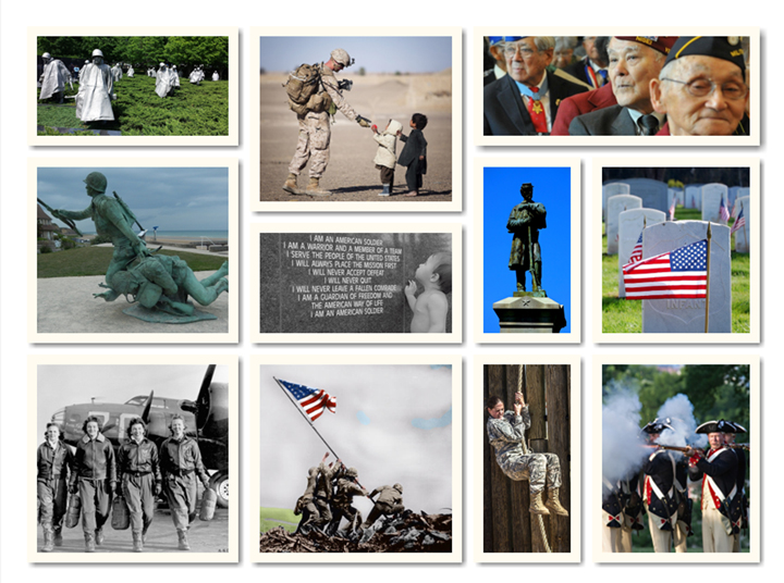 Memorial Day images from various wars, memorials, and graves
