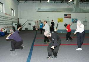 Straight sword form in Adult Tai Chi class at U.S. Martial Arts Academy, Ltd. Timonium, Maryland