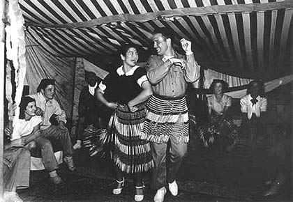 Norm Hatch gets dancing lessons in 1942.