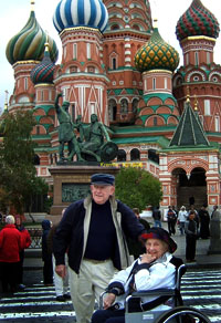Red Square. Our last trip together. We returned home Oct. 15 after two weeks on water between St.Petersburg and Moscow. She died Dec. 12, 2008. Bob continues to travel, having spent most of May 2009 in Egypt & Israel and  Australia/New Zealand in Dec/Jan,2010 and then a 35-day cruise from Hong Kong to Athens in Apr/May 2010, visiting Thailand, Vietnam,India, Singapore, Maylasia, Oman, Jordan and back to Egypt through the Suez to Greece. Spent a week in Rome Sept.'11  Off to Bangkok Oct. 22 2011 and home from Saigon after touring Thailand, Cambodia, Laos.   God willing, will fly to Barcelona in May 2012, tour N.Spain and Pyernees, home from Madrid.