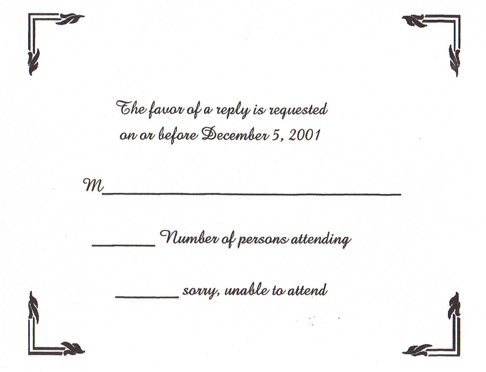 Wedding Response Card Template. black and white wedding response ...