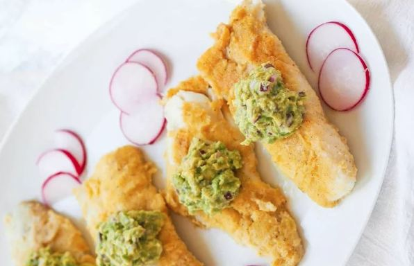 Oven-Fried Cod With Avocado Puree