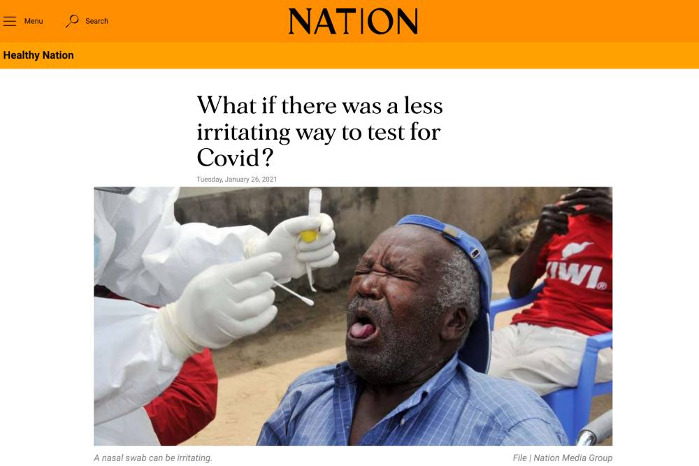 Nation Africa featured our smell test - 'What if there was a less irritating way to test for Covid?'