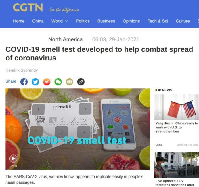 Smell test developed to help combat spread of coronavirus - featured on CGTN