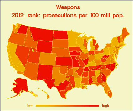 Federal weapons prosecutions per capita in 2012 by state. (TRAC/Syracuse University)