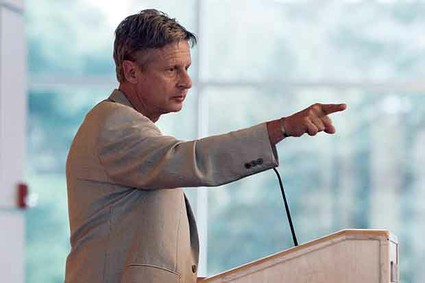 Gary Johnson, the Libertarian Party candidate for president, addresses an audience of students and the public at Macalester College in St. Paul, Minn.