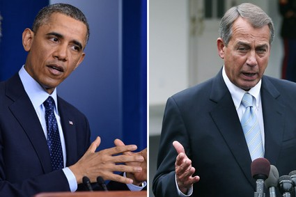 President Barack Obama and House Speaker John Boehner speak to reporters following a meeting at the White House, March 1, 2013.