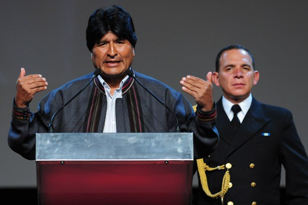 Bolivia's President Evo Morales gives a speech during the 'International Meeting with Social Movements' in Barcelona, Dec. 9, 2012.