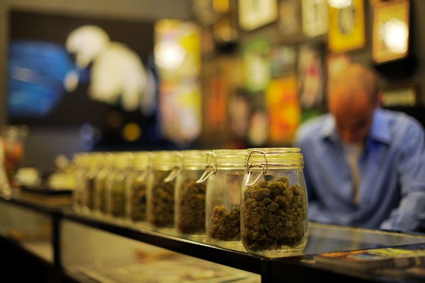 Jars full of medical marijuana at Sunset Junction medical marijuana dispensary in Los Angeles, California. The U.S. Senate will hold a hearing on state and federal marijuana laws in September.