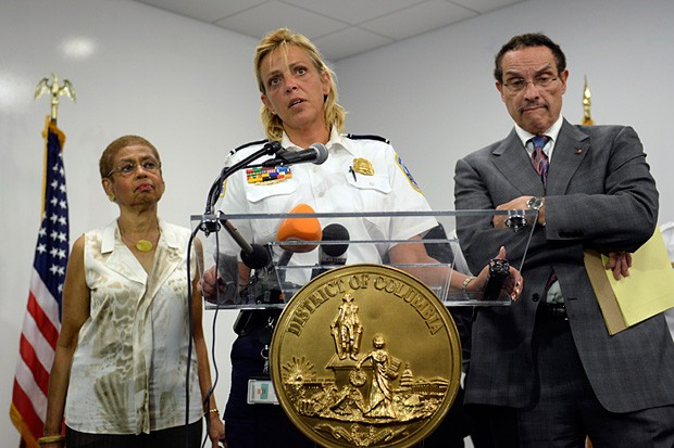 D.C. Police Chief Cathy Lanier, center, briefs reporters on the shooting at the Washington Navy Yard with Rep. Eleanor Holmes Norton, D-D.C., left, and D.C. Mayor Vincent Gray on Monday, Sept. 16, 2013, in Washington, D.C.