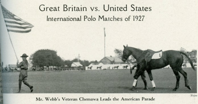 Photo of Chemawa in the number one saddle pad leading the 1927 International Matches Parade. Photo from POLO, October 1927.