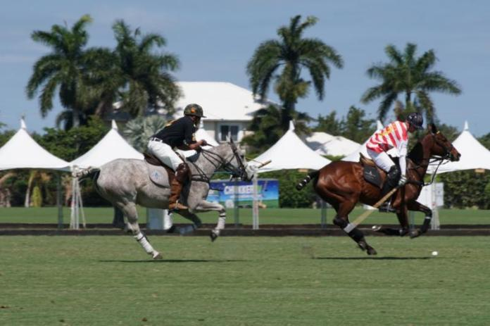 Paul Knapp of Navy avoids the hook of Terrence Donahue of Army.  Photo courtesy ChukkerTV.