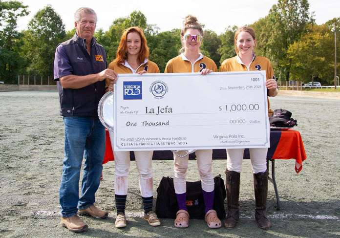 2021 USPA Women's Arena Handicap® Runners-up La Jefa's Katie Mitcham, Emmie Golkosky and Jessica Schmitt received $1,000 prize money through the USPA's Tournament Stimulus Package. Presented by Lou Lopez.