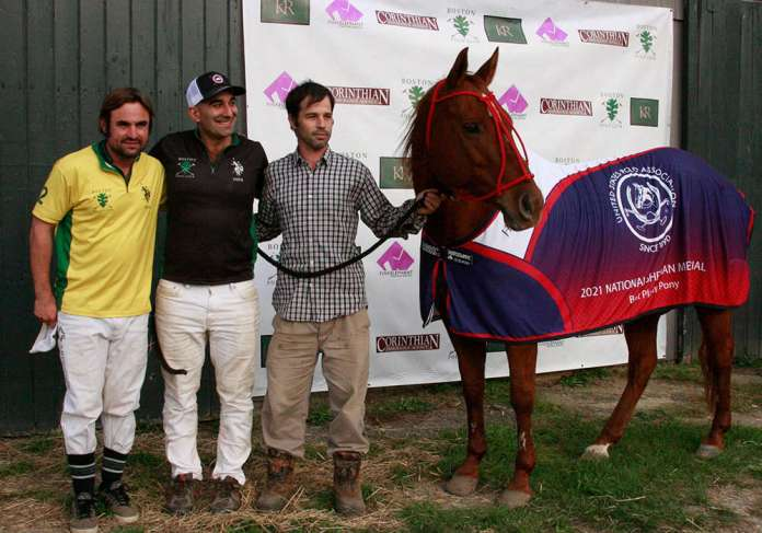 Best Playing Pony Corona. Played and owned by Mark Tashjian, pictured with Horacio Herran Marco and Juan Facundo Regueiro.
