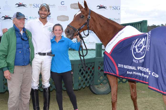 Best Playing Pony: Ninja - played and owned by Alan Martinez, presented by Gene Kneece and pictured with Cheyenne Miller.