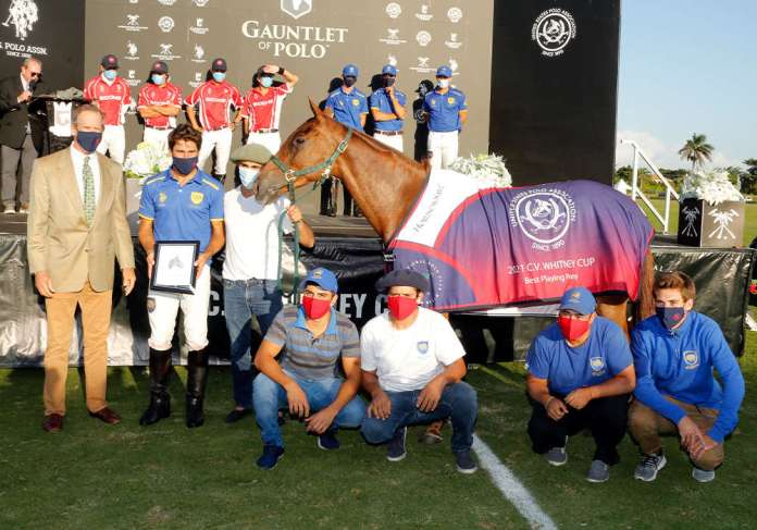 Best Playing Pony of the C.V. Whitney Cup® Final: Lavinia Heroica, played and owned by Hilario Ulloa. Presented by USPA Chairman Stewart Armstrong and pictured with Agustin Menta, Hernan Martinez, Alexis Gonzalez, Cristian Maidana and Carlos Ulloa.