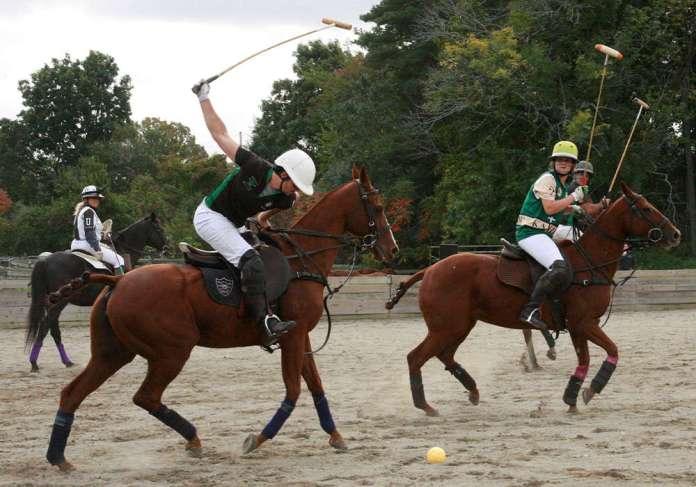 Boston Polo Club's Justin Daniels displays a gorgeous forehand shot.