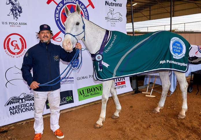 The Jockey Club Thoroughbred Incentive Program Best Playing Thoroughbred Overall Winner Panela (Jockey Club Tonality), owned by Legends Polo Club. Pictured with Nacho Estrada. ©David Murrell