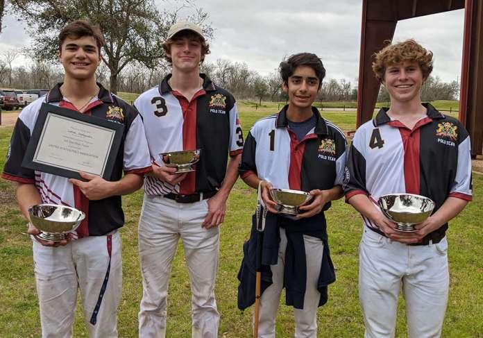 Central Interscholastic Open Regional Champions: Houston Polo Club Left to Right: Lance Stefanakis, Charles Fridge, Ashvath Bhatia, Christian Fridge