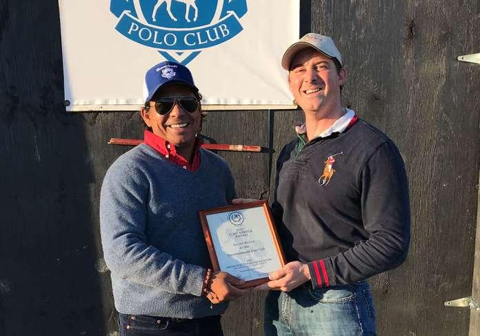 Jorge Vasquez presenting the 2017 Clint Nangle Equine Welfare Award to Donald Nickou.