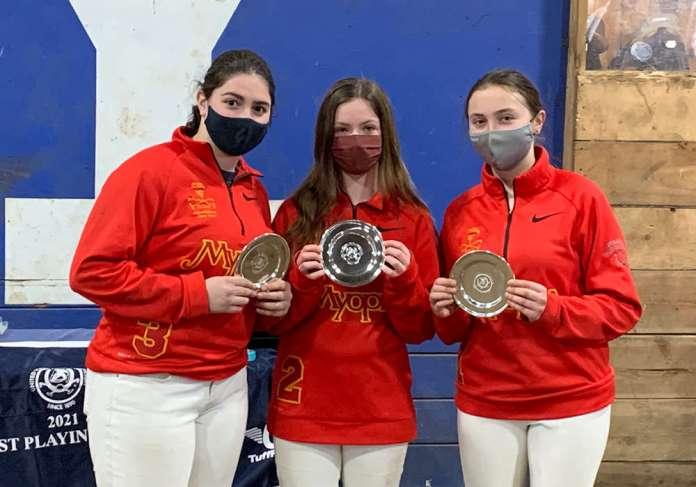 Northeastern Circuit I/I Club Challenge Cup Champions: Myopia- Emma Croke, Ava Croce, Addie Politi.