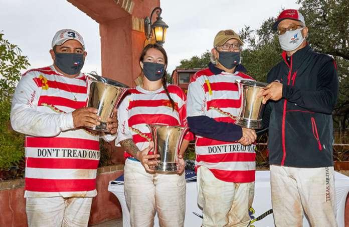Southwestern Circuit Arena Admiral Chester Nimitz Champions- Navy Red & White- Javier Insua, Zoe Lehmer, Jose Velez.