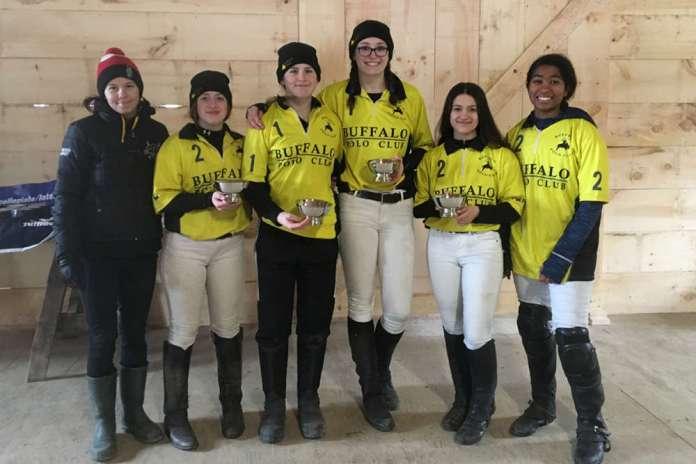 Northeastern Girls' Preliminary Winners: Buffalo Polo Club - Kenzie Ridd, Brona Mayne, Mel Fraser, Nicole Jaswal, Sabrina Mclennon, pictured with Coach Hailey Van der Burgt.