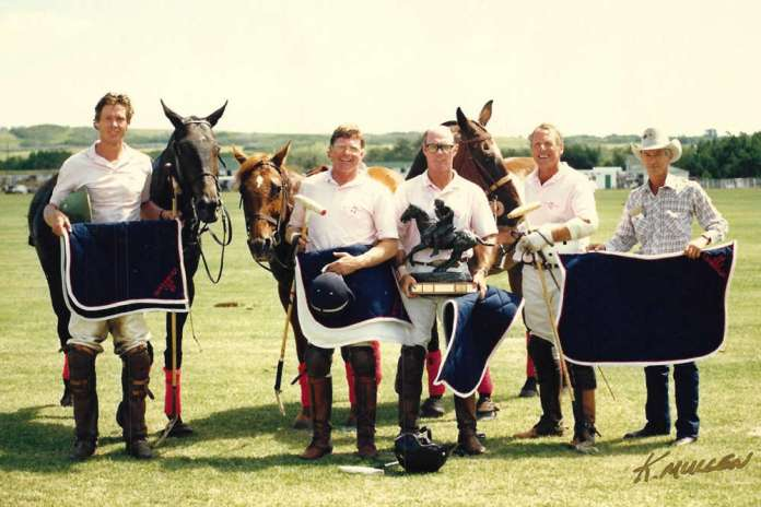 Black Diamond Team in 1987 at Calgary Polo Club in Canada. Left to Right: Cam Bailey, Rob Peters, Jimmy Newman, Paul Von Gontard.