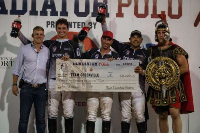 Team Greenville sponsored by GSP in their presentation ceremony with Gates Gridley, Gladiator Polo™ Manager.