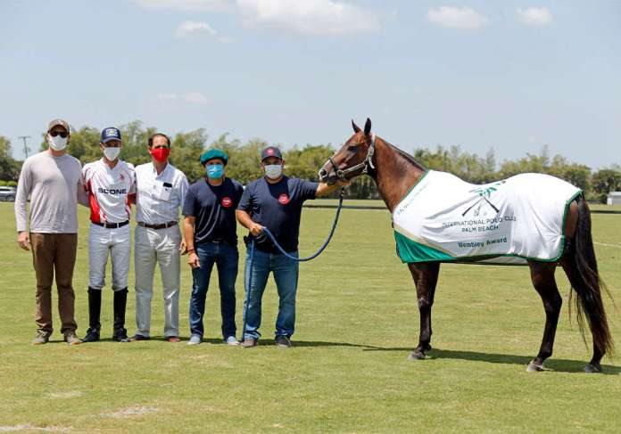 International Polo Club Wembley Award:  Sugar, played by Adolfo Cambiaso and owned by J5 Equestrian. Pictured with Rob Jornayvaz, Poroto Cambiaso, Carlucho Arellano, Juan Martin Aneas, Andres Luna.