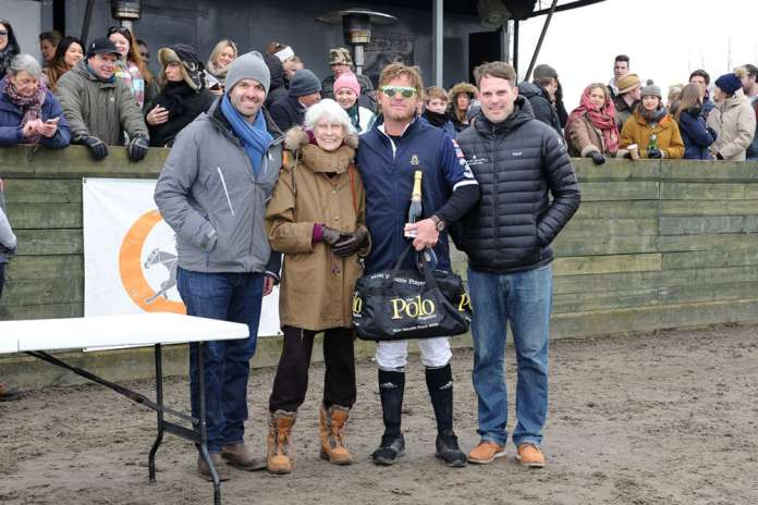 Westcroft Polo Club Managing Director Richard Blake Thomas with Greta Morrison, MVP Shane Rice and Jamie Morrison.