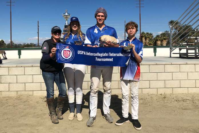 Western Interscholastic Open Preliminary Winners: Central Coast Polo Club - Ruby Decker, Luke Klentner, Dylan Stern, pictured with Coach Megan Judge.