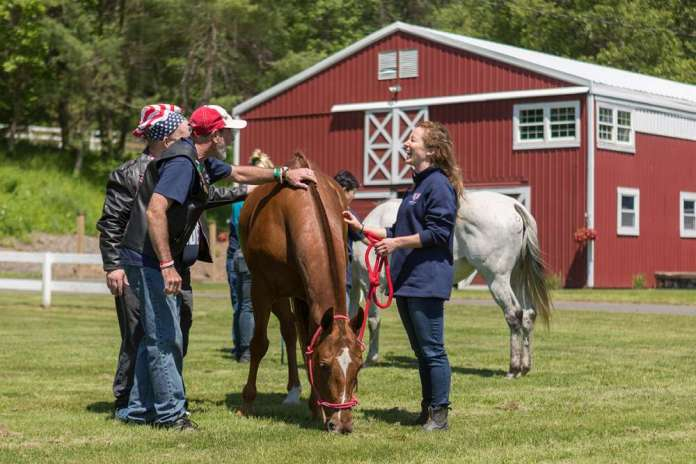 Special Olympics athletes with Farmington Polo Club horses.
