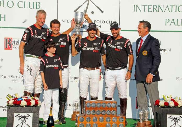 2016 U.S. Open Polo Championship® winners - Orchard Hill (Steve Van Andel, Julian de Lusarreta, Juan Martin Nero, Facundo Pieres. Pictured with former USPA Chairman Joseph Meyer.